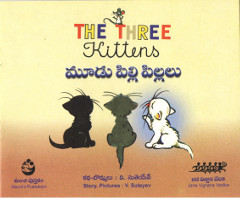 The Three Kittens English Telugu bilingual kids book by V. Sutayev